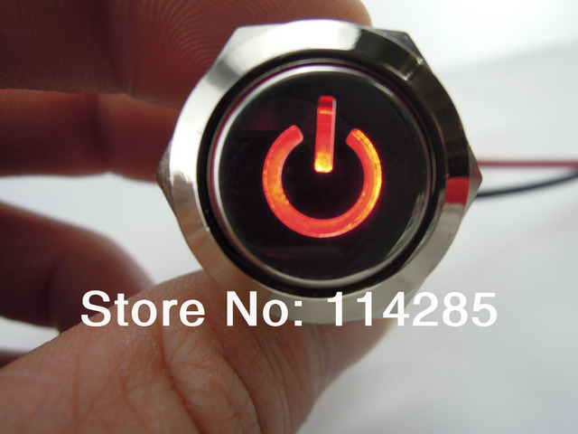 19mm 12V 5A Red Symbol Led Lighted Car Metal Push Button ON OFF ...