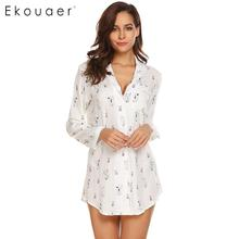 Ekouaer Women Sleepwear Nightshirt Long Sleeve Animal Print Pajamas Nightgown Female Sexy Nightclothes Sleep Lounge Night Dress