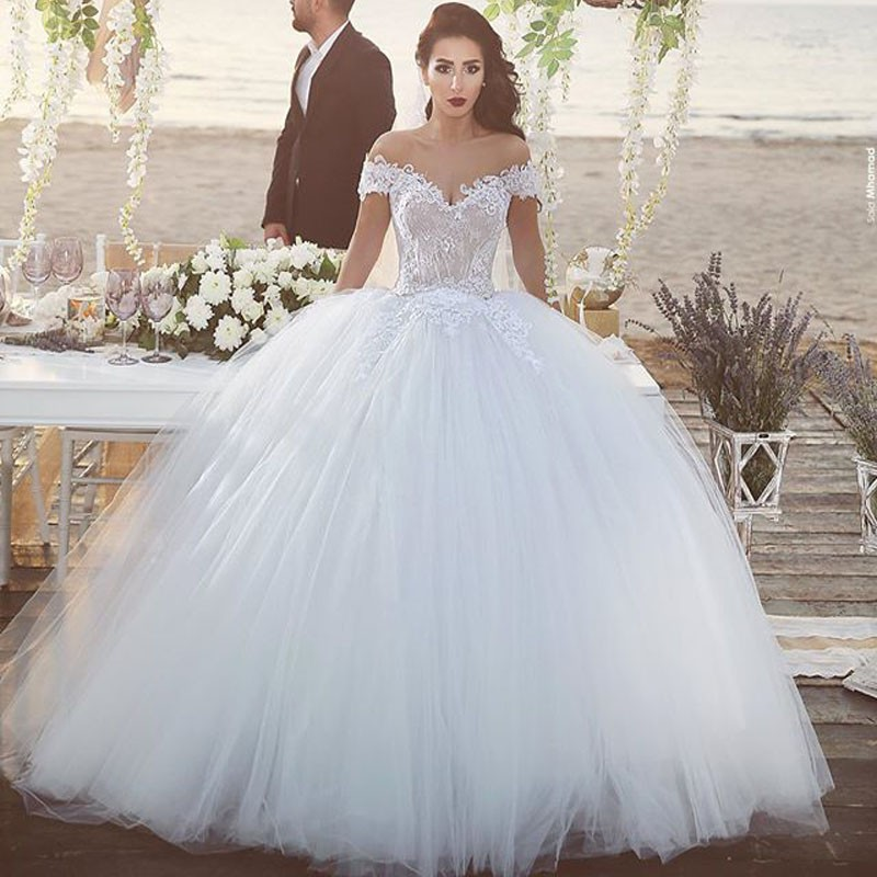 Ball Gown Short Sleeve Bride Muslim Wedding Dresses Lace Up Bridal Gowns Abiti Da Sposa Casamento In From Weddings Events On