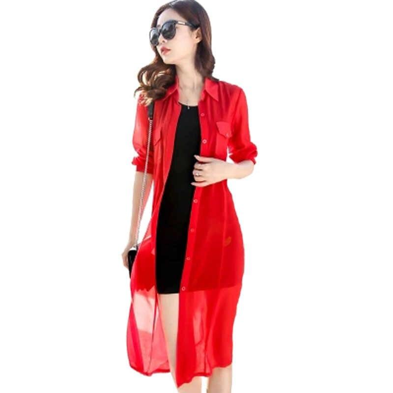 2019 черный, белый, красный зеленый длинный женский Кардиган с длинным рукавом Лето Уличная Кардиган Повседневная рубашка для женщин шифоновая блузка PZ1356