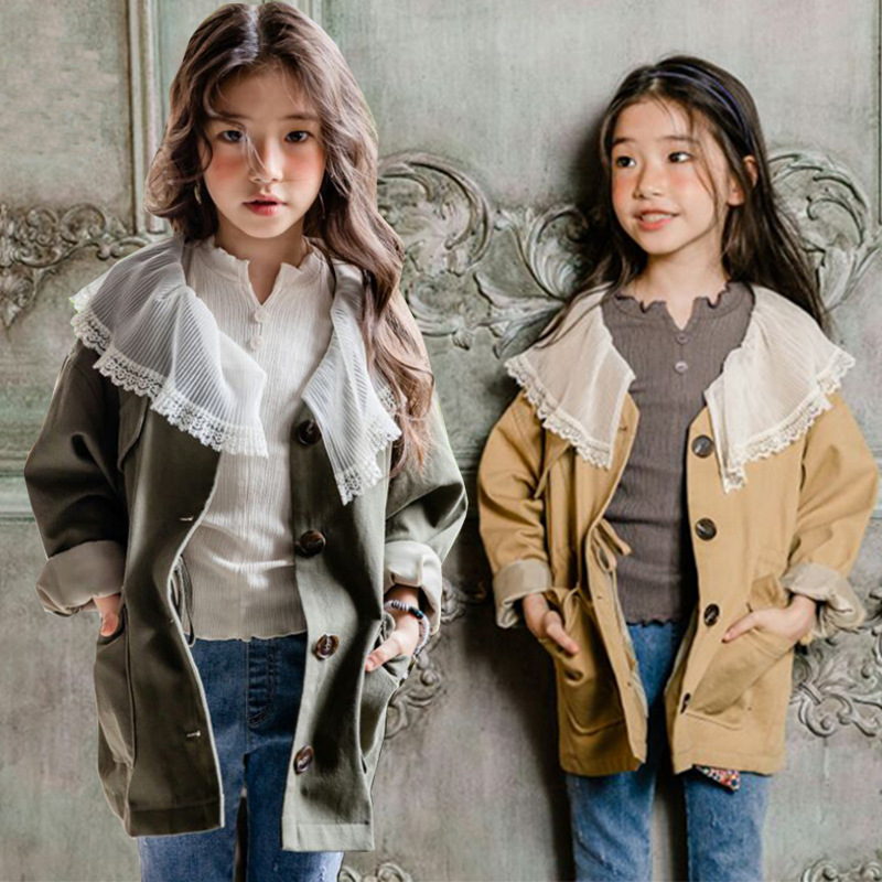 Girls' Korean 2018 autumn wear lace collar long-sleeve windbreaker jacket for children's pure cotton washing cardigan jacket kid chic texture spliced stand collar long sleeve jacket