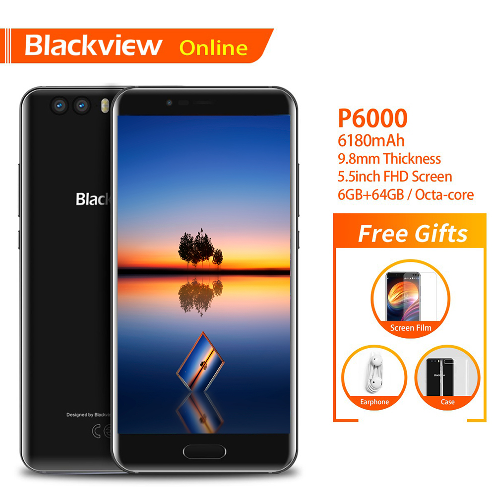 Blackview P6000 Original 5.5 FHD Smartphone Helio P25 6GB+64GB Face ID 21.0MP Camera 4G Dual SIM 6180mAh Fashion Mobile Phone