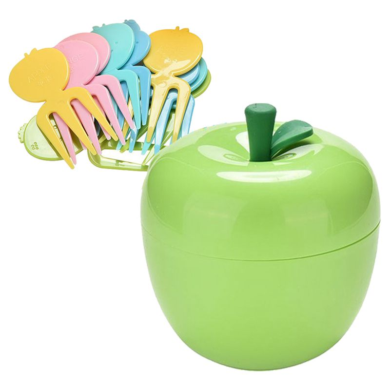 Hot Sale 1 Set Cute ABS Fruit Cake Dessert Serving Forks for Kids Children, with an Box Container, 10 Forks