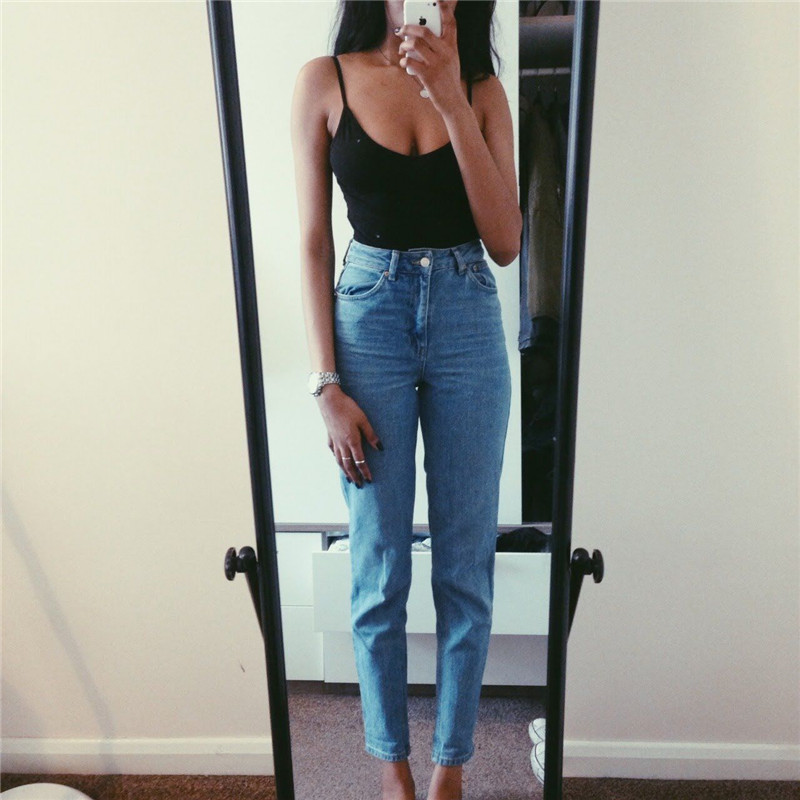 2019 Jeans Female Denim Pants Vintage Ladies Boyfriend Jeans For Women High Waisted Jeans Blue Casual Pencil Trousers Mom Jeans