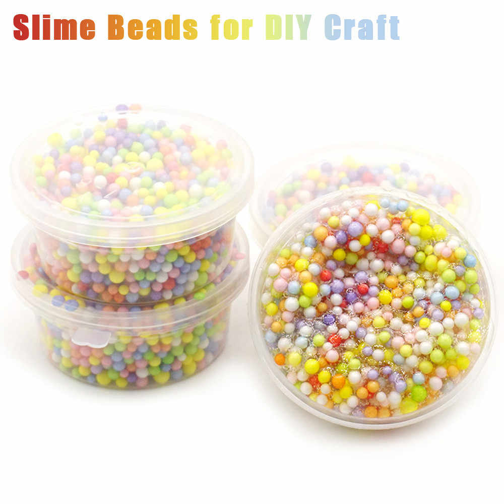 Rainbow Colorful Styrofoam Decorative Slime Beads DIY Craft For Crunchy Slime Toys