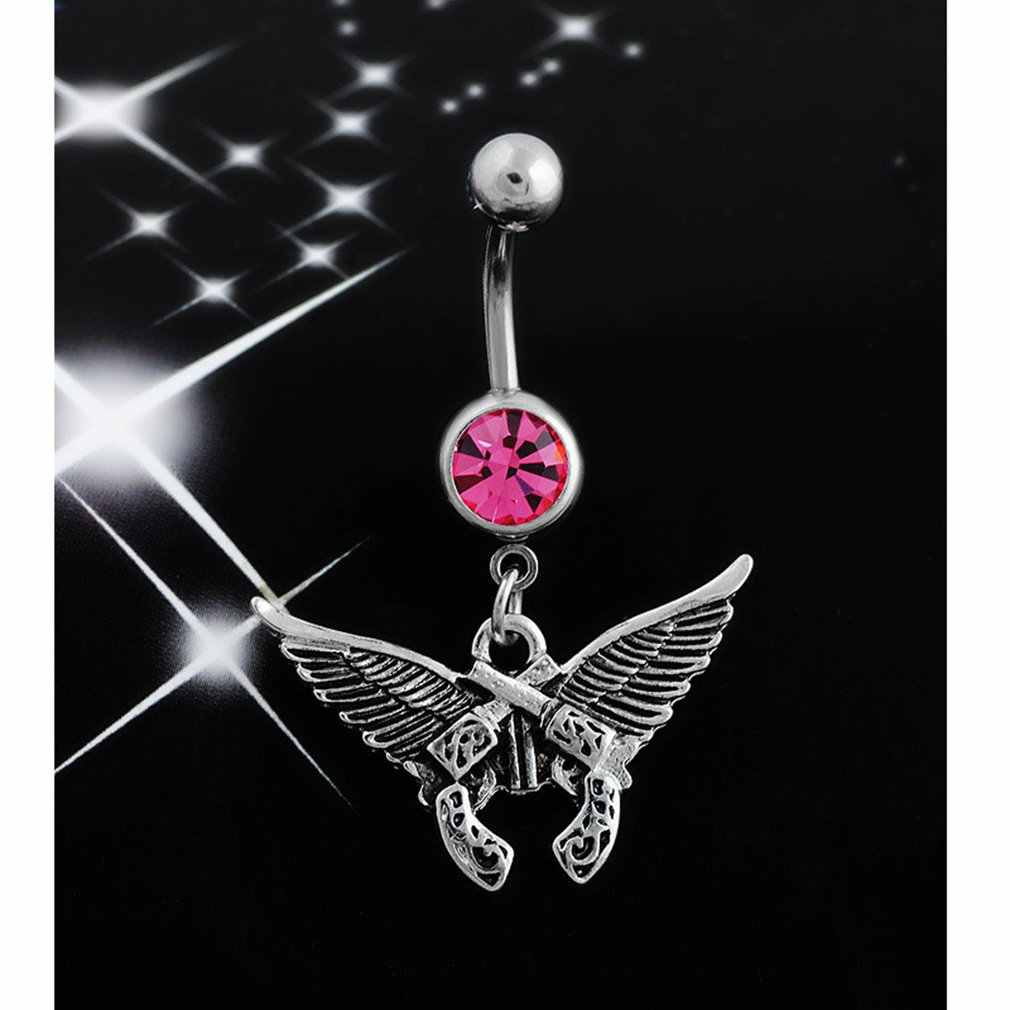 Q00783 יהלומי כנף אקדח טבור טבעת שיער קריסטל ריינסטון טבעות טבור פירסינג טבור טבעות תכשיטים