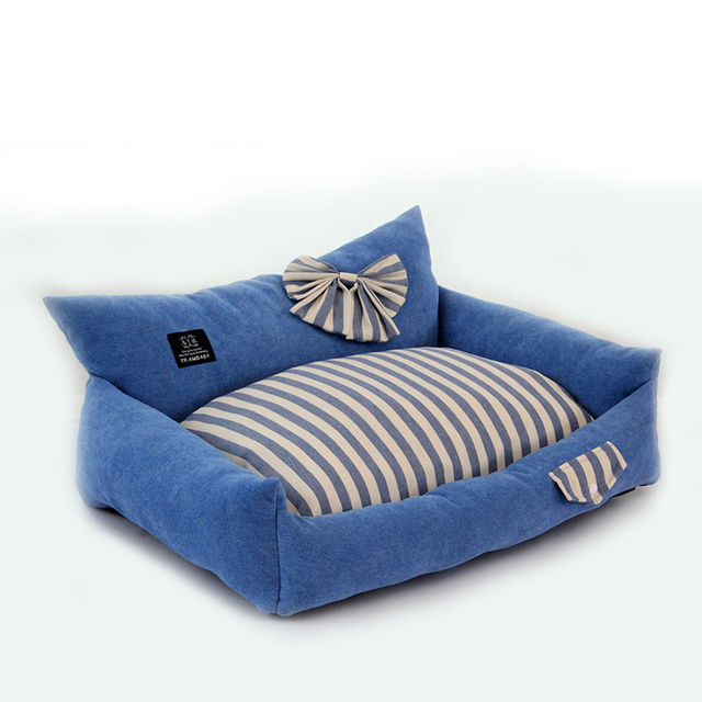MERLE PET Stripe Printed Durable Cat Bed House Dog Beds for Small Dogs Medium Puppy Winter Sleeping Kennel Cat Cave Nest M07005