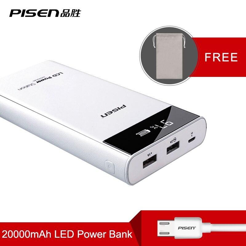 PISEN Schnelle Ladung Power Bank 20000 mah 2 USB Tragbare Ladegerät Power 18650 Externe Batterie Für iPhone Für Xiaomi PoverBank