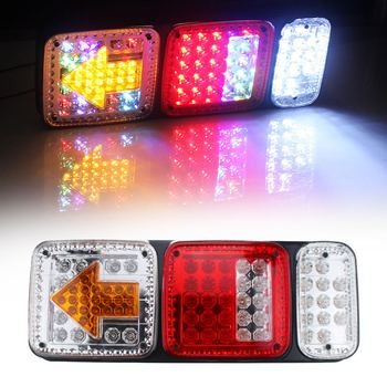 2Pcs 73LED Plastic Car Rear Tail Lights with Arrow 12V Truck Trailer Colorful Stop Brake Lamp