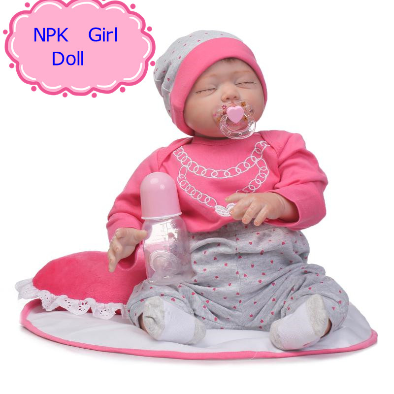 NPK 55cm Doll Reborn Babies Silicone Lifelike Realistic Baby Dolls 22Inch Kids Growth Partners Half Silicone + Half Cotton Doll partners cd