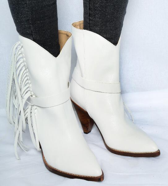 Hot Fashion Sexy Winter Autumn White Sheepskin Mid Calf Shoes Slip On Pointed Toe Women 39 s Shoe Spike Heels Fringe Ladies Boots in Mid Calf Boots from Shoes