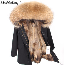 Парка с подкладкой из натурального меха, водонепроницаемая куртка, пальто из натурального меха, зимняя куртка для женщин, воротник из натурального меха енота, теплые толстые парки