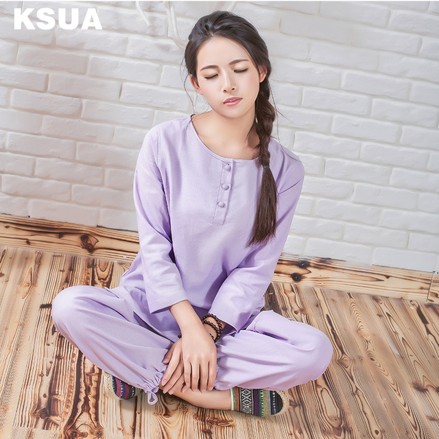 1efab652b9eb14 Linge De Yoga Chemise Pantalon Zen Méditation Vêtements Survêtement Femme  Sportswear Set Grande Taille Gym Sport