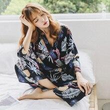 Пижама для сна Vitange, хлопковый женский пижамный комплект, осенняя ночная рубашка, Дамский домашний костюм, Пижама для женщин
