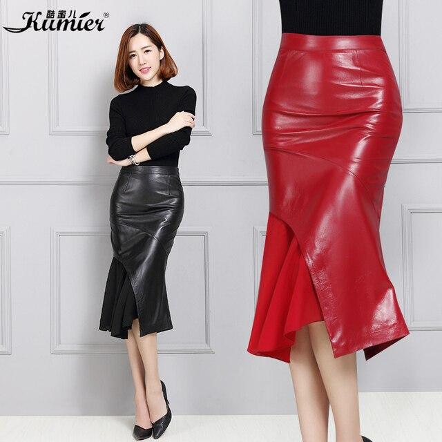 47c2bf8d39f Women s genuine leather skirt Ladies bust skirt female sheepskin medium-long  leather skirt slim Stitching Fishtail skirt
