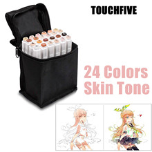 TOUCHFIVE 24 Colors Sketch Skin Tones Marker Pen Artist Double Headed Alcohol Based Manga Art Markers Brush Pen Art Supplies 12 colors skin tones soft brush markers set alcohol based sketch marker pen for manga professional drawing art supplies