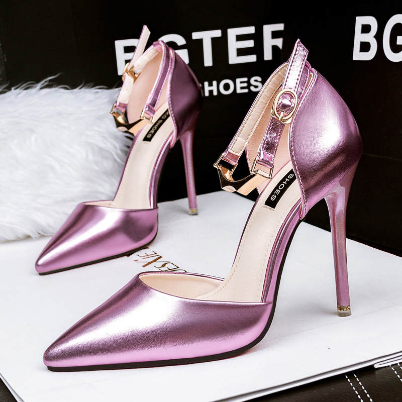 New summer woman shoes sexy high heels stiletto pumps women fashion pointed toe metal buckle strap sandals ladies