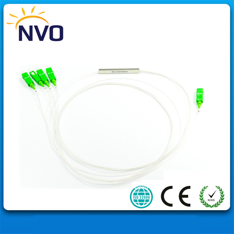4Pcs/Lot,GPON FTTH Steel Tube,dia:0.9mm,Length:1M,SC/UPC 1*8 Fiber Optic PLC Splitter,Mini PLC Fiber Optical Splitter