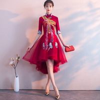 Embroidery Phoenix Traditional Chinese Women Cheongsam Elegant Half Sleeve Wedding Party Bride Mesh Dress Vintage Cheongsam