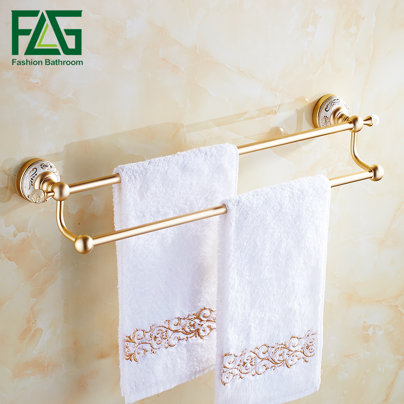 FLG  Double Towel Bars Bathroom Towel Holder Towel Rack Space Aluminum With Ceramics Bathroom Accessories Wall Mounted baci колготки красные в крупную сетку размер универсальный xs l