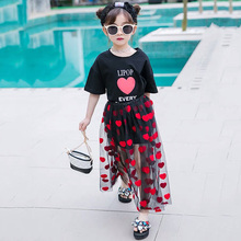 Summer girls 2 pcs set baby tee shirt + tutu skirt kids suit children set red heart letter print embroidery mesh 4 to 14 yrs