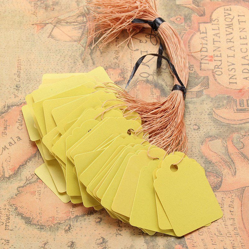 PVC 100Pcs 5x3.5cm Blank Draw Garment Tags Scallop Price Label Hand Luggage Wedding Note Business Card Event Party Suppied Gift