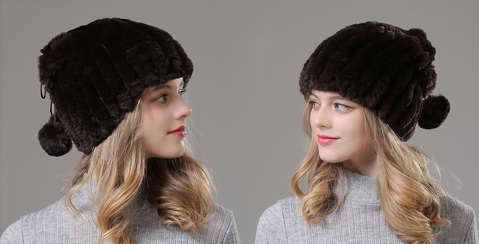 Womens Winter Hats Scarf Knitted Real Rabbit Fur Hat Natural fur Neck Scarf Girls Winter Warm Hat Beanies (3)