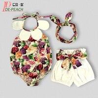 Baby Girl Winter Clothes Boys New Born Set Fashion Sleeveless Bodysuit Short Headband Christmas Disfraz Floral