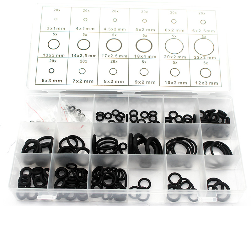 Kelfebby 225 pcs Rubber O Ring Gaskets Durable O-Ring Washer Seals Different Size Assortment Kits With Plactic Box Kit image