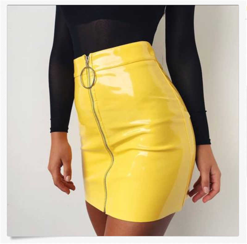 Fashion Wanita High Waist Rok Seksi Zip Faux Kulit Pendek Pensil Bodycon Rok Mini 2019 Baru Solid Rok Putih