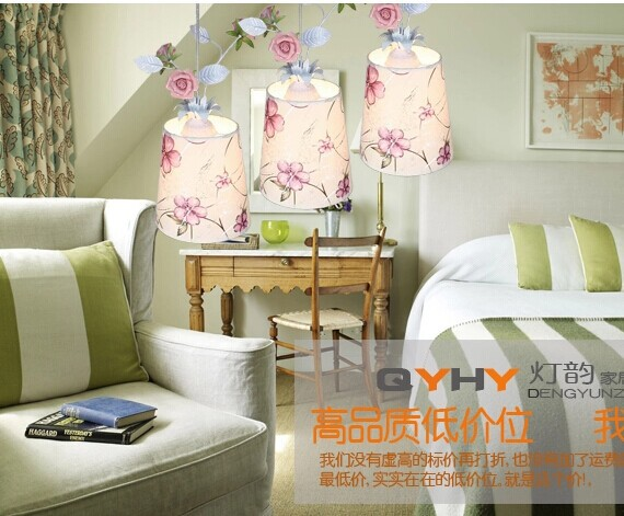 Rustic Rose Flower Leaves Fabric Pendant Lights Living Room /bedroom  /restaurant Pendant Lamp 5 Color Cover For Choice