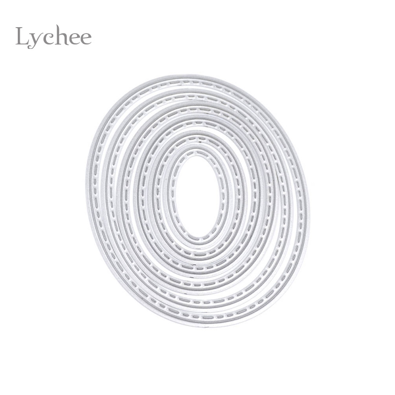 Lychee 1 Set Ellipse Metal Cutting Dies Stencils DIY Scrapbooking Dekorativa Embossing Folder Papperskort Dysskärmsmall