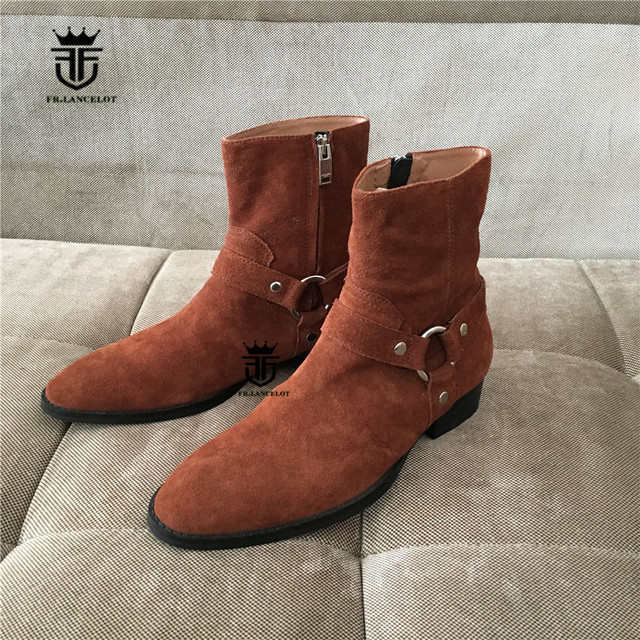 5527f446674 US $89.15 22% OFF|High Top Handmade Western Ankle strap Chelsea Wedge Boots  Dark Brown Suede Wyatt Cowboy Martin Boots Real Picture on Aliexpress.com  ...