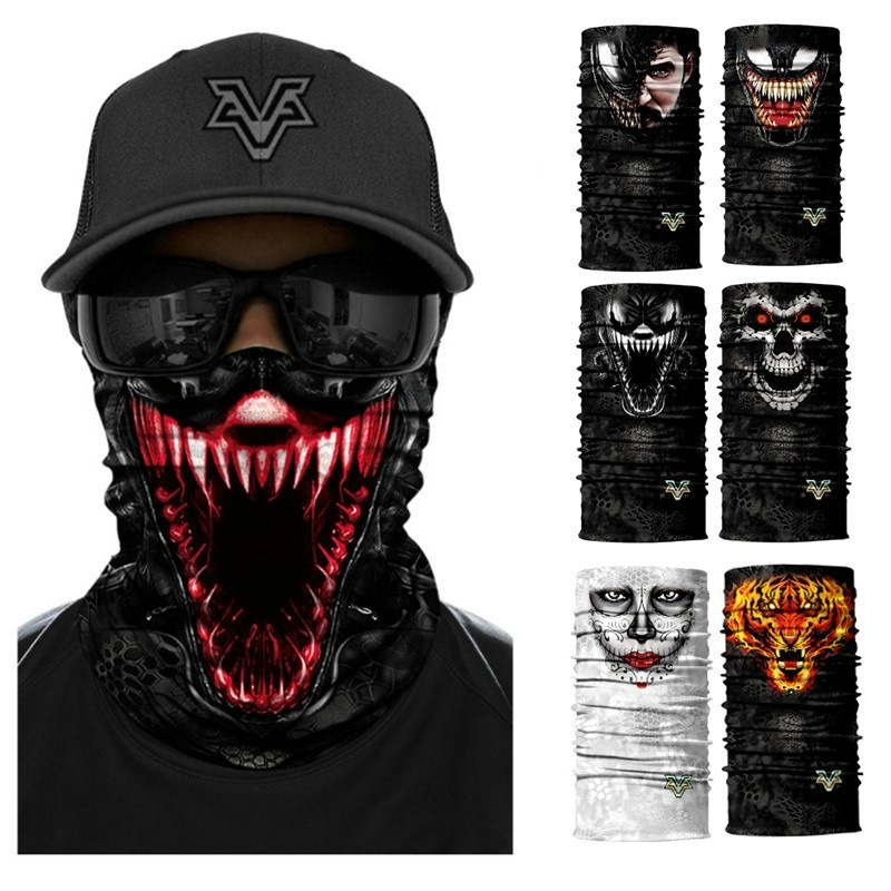 Movie Venom Anime Hoodie Skull Seamless Balaclava Magic Scarf Heaewear Outdoor Sports Bandanas Cycling Hiking Mask Neck Gaiter