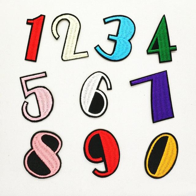 O Tamanho da Altura 4.9 cm 0-9 Números Finas Patchwork Patch Patches Bordados Para Vestuário Iron On Para Fechar sapatos Sacos de Emblemas