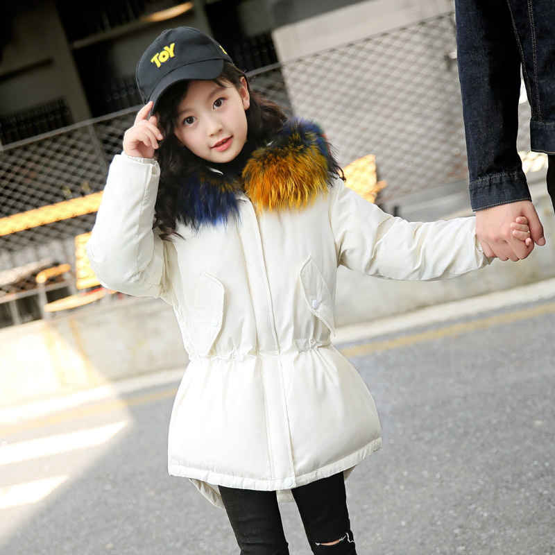 2018 Autumn Winter Girl's Down Jacket Medium-long Safari Style Girls Down Coat with Colorful Fur on Collar 120cm-160cm london fog heritage women s long down coat with fur collar