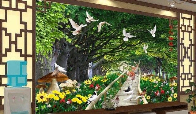 customize 3d photo wall mural HD Pigeon Flower Sika deer dream