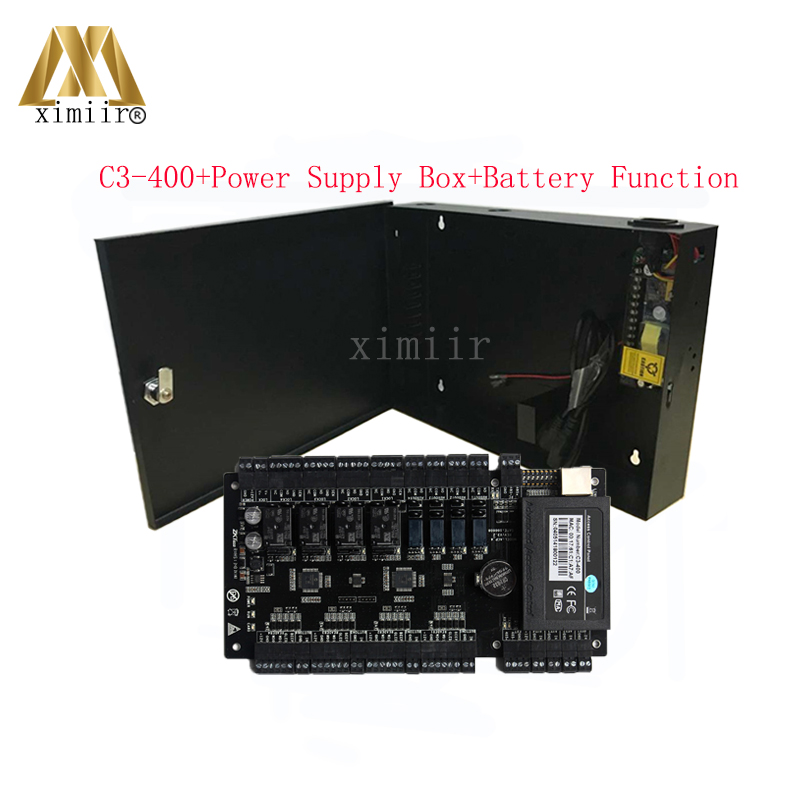 C3-400 Four Doors Access Control Panel TCP/IP Door Access Control System ZK Access Control Board With 12V5A Power Supply Box biometric fingerprint access controller tcp ip fingerprint door access control reader