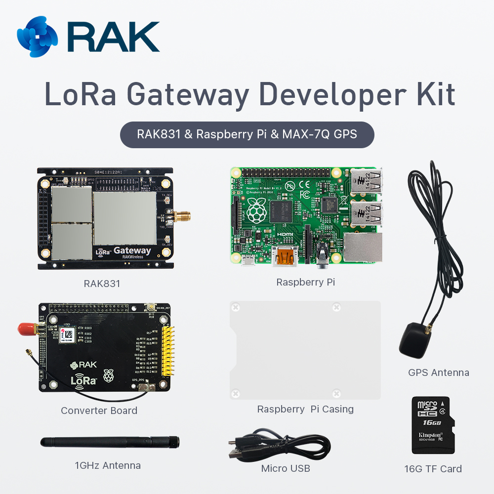 LoRa Gateway Developer Kit RAK831 LoRaWan Module with Raspberry Base Pi3 MAX-7Q GPS Module Base on SX1301 433 868 915MHz Q161 rfm01 433 868 915mhz