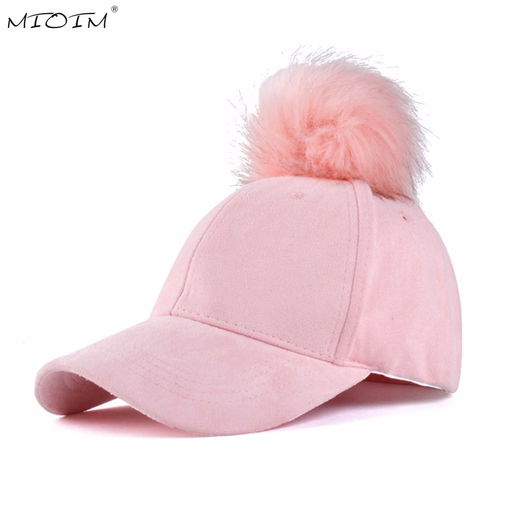 MIOIM Winter Women Faux Fox Fur Pompom Ball Hat Suede Warm Adjustable Baseball Cap Hip-Hop Hat Solid 5 Colos Mujer Sombrero 3 fox fur ball cap pom poms winter hat for women girl s hat knitted beanies cap brand new thick female cap