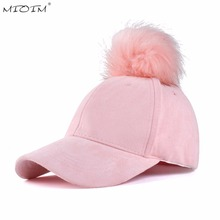 MIOIM Winter Women Faux Fox Fur Pompom Ball Hat Suede Warm Adjustable Baseball Cap Hip-Hop Hat Solid 5 Colos Mujer Sombrero 3