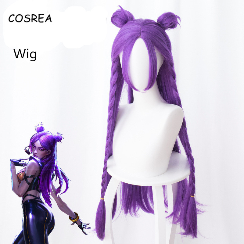 Lol Costumes Kaisa Long Wig Synthetic Wig Women Female Girls Purple Game Character Synthetic Hair Cosplay Costumes