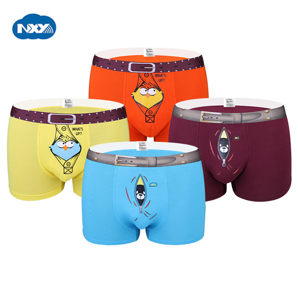 NXY Wholesale Mens boxer cueca boxer character mens underwear cute underpants 4pcs/set males gift