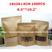 2015Free shipping 16x26x4cm(6.3*10.2)All natural kraft paper stand up pouch/bag with clear window for package Tea/Coffee/nuts.