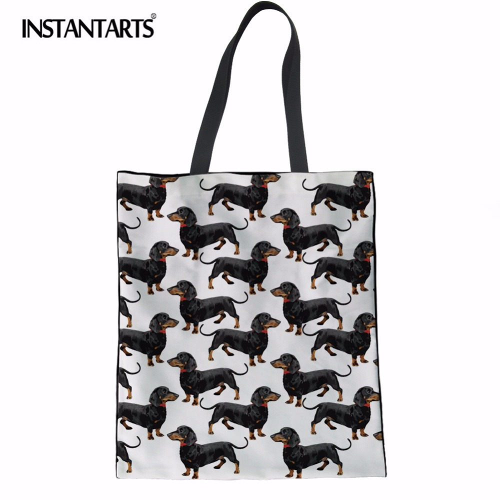 INSTANTARTS Canvas Tote Female Single Shopping Bags Large Capacity Women Canvas Beach Bags Dachshund Dog Print Casual Tote Bag autumn winter beanie hat knitted wool beanies cap with raccoon fox fur pompom skullies caps ladies knit winter hats for women