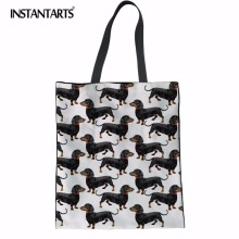 INSTANTARTS Canvas Tote Female Single Shopping Bags Large Capacity Women Beach Dachshund Dog Print Casual Bag