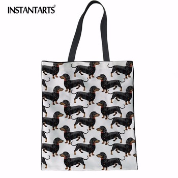 INSTANTARTS Canvas Tote Female Single Shopping Bags Large Capacity Women Canvas Beach Bags Dachshund Dog Print Casual Tote Bag canvas ethnic print tote bag