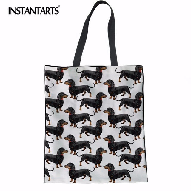 a108e83fe9 INSTANTARTS Canvas Tote Female Single Shopping Bags Large Capacity Women  Canvas Beach Bags Dachshund Dog Print Casual Tote Bag