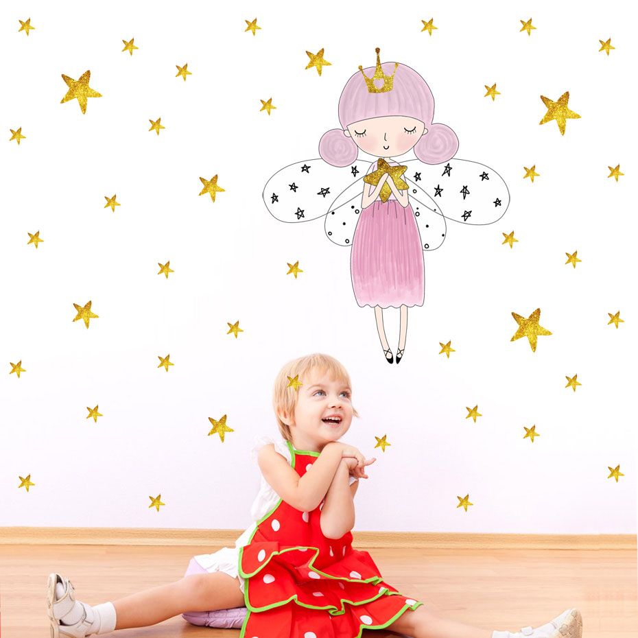 Fairy Stars Wall Decal Fairy gold star Vinyl Wall Stickers for Kids Room Girl Bedroom Decor Vinilos Parede