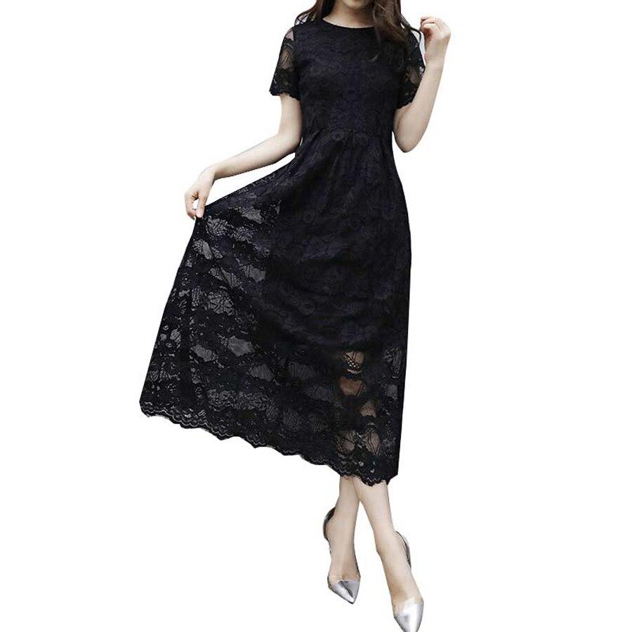 Offre spéciale Femmes D'été robe en dentelle 2018 Vintage O Cou Mince Sexy Pin up Rockabilly Robes Partie Noir robes en dentelle C0210F